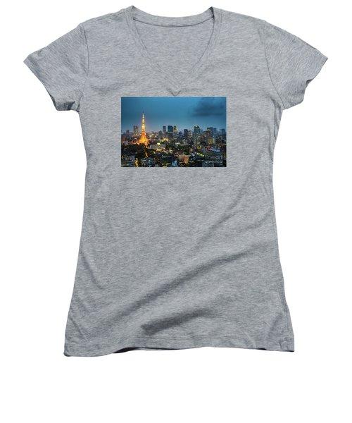 Tokyo Tower And Skyline Women's V-Neck T-Shirt