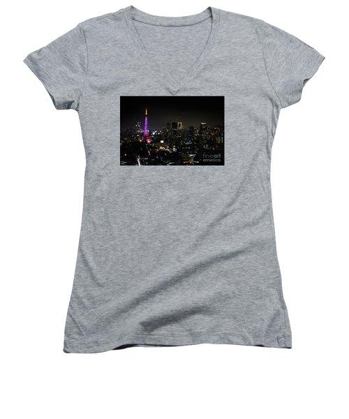 Tokyo Tower Cityscape Women's V-Neck T-Shirt