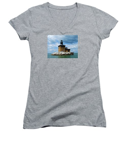 Women's V-Neck T-Shirt (Junior Cut) featuring the photograph Toledo Harbor Lighthouse by Michiale Schneider