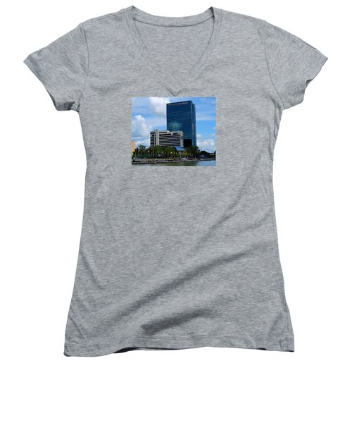 Women's V-Neck T-Shirt (Junior Cut) featuring the photograph Toledo's Waterfront I by Michiale Schneider