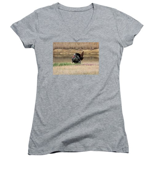Tom Turkey At Pond Women's V-Neck