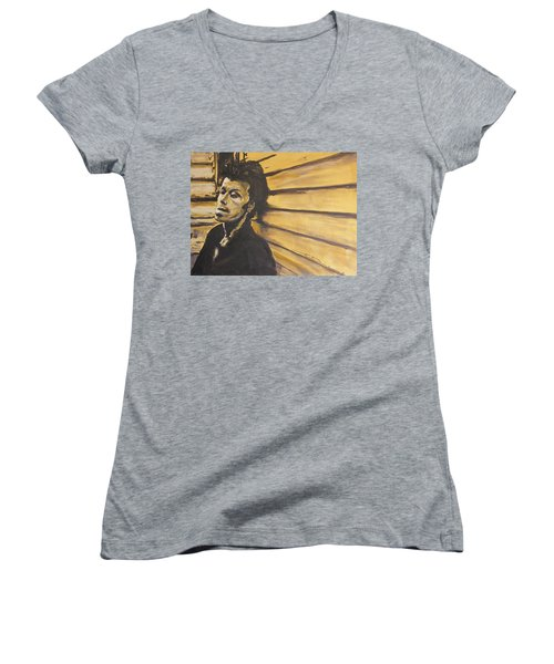 Tom Waits Women's V-Neck T-Shirt (Junior Cut) by Eric Dee