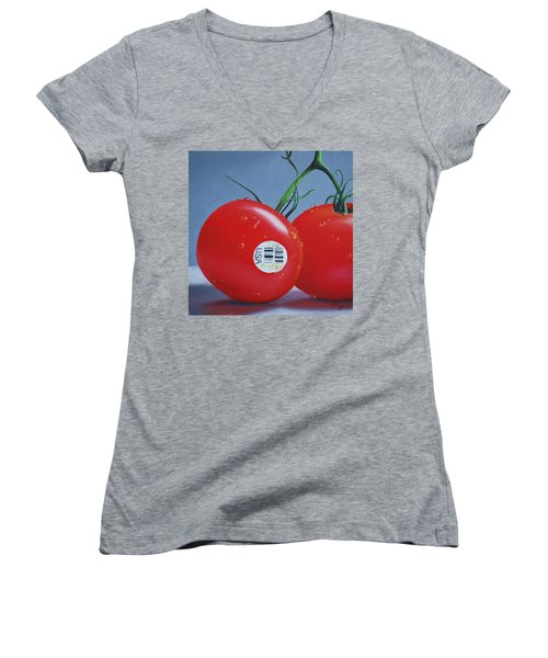 Tomatoes With Sticker Women's V-Neck