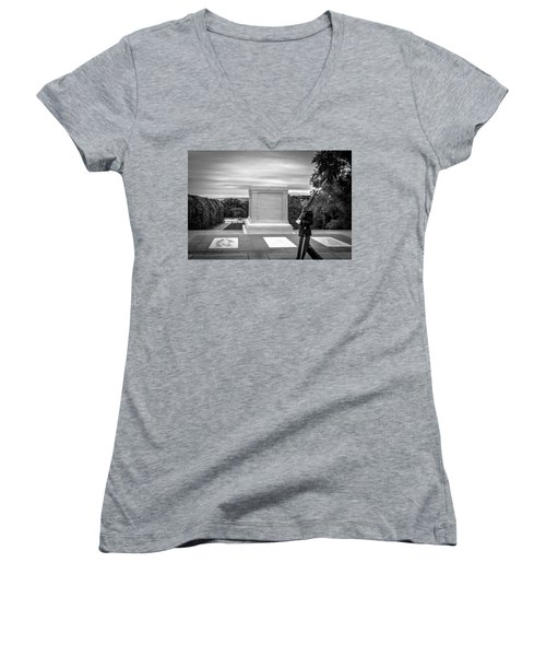 Women's V-Neck T-Shirt (Junior Cut) featuring the photograph Tomb Of The Unknown Solider by David Morefield