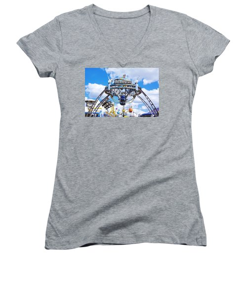 Women's V-Neck T-Shirt (Junior Cut) featuring the photograph Tomorrowland by Greg Fortier
