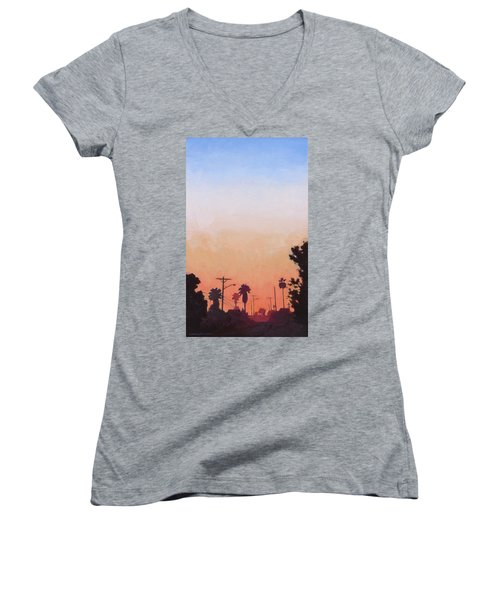 Women's V-Neck T-Shirt (Junior Cut) featuring the painting Tonal Hollywood by Andrew Danielsen