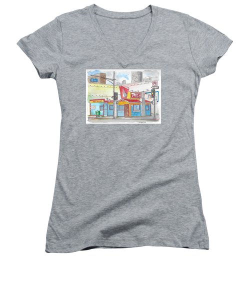 Tony Burger, Downtown Los Angeles, California Women's V-Neck (Athletic Fit)