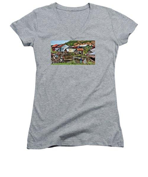 Tonle Sap Boat Village Cambodia Women's V-Neck T-Shirt (Junior Cut) by Chuck Kuhn