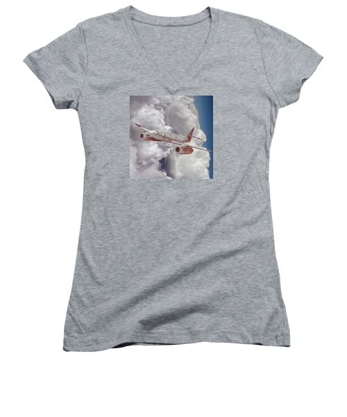 Women's V-Neck T-Shirt (Junior Cut) featuring the digital art Too Little, Too Late by Walter Chamberlain