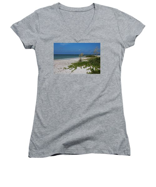 Women's V-Neck T-Shirt featuring the photograph Too Much Space Between Us by Michiale Schneider