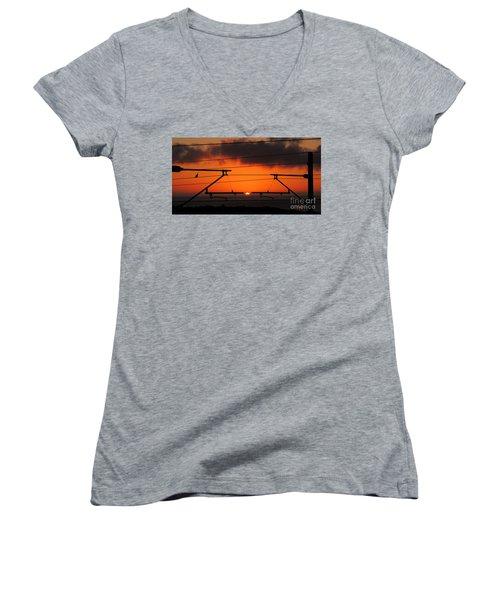 Women's V-Neck T-Shirt (Junior Cut) featuring the photograph Top Notch Spot by Linda Hollis