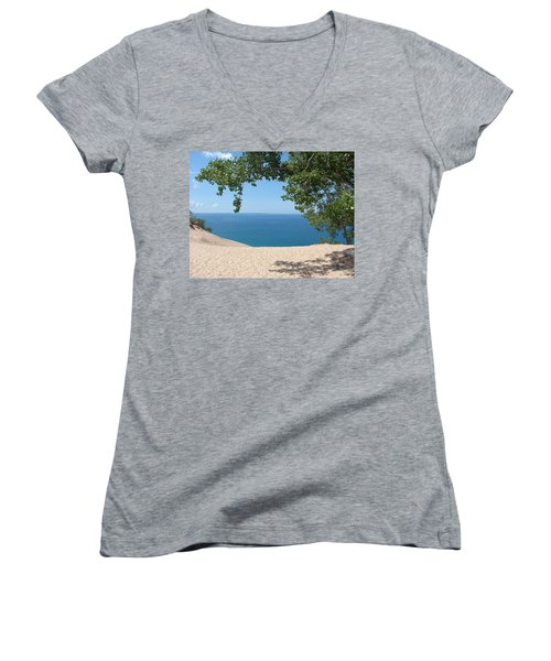 Top Of The Dune At Sleeping Bear Women's V-Neck (Athletic Fit)