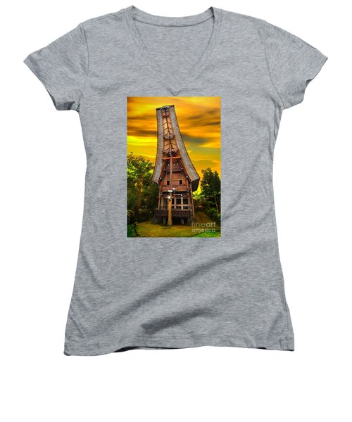 Women's V-Neck T-Shirt (Junior Cut) featuring the photograph Toraja Architecture by Charuhas Images