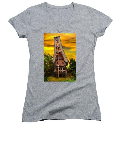 Toraja Architecture Women's V-Neck T-Shirt