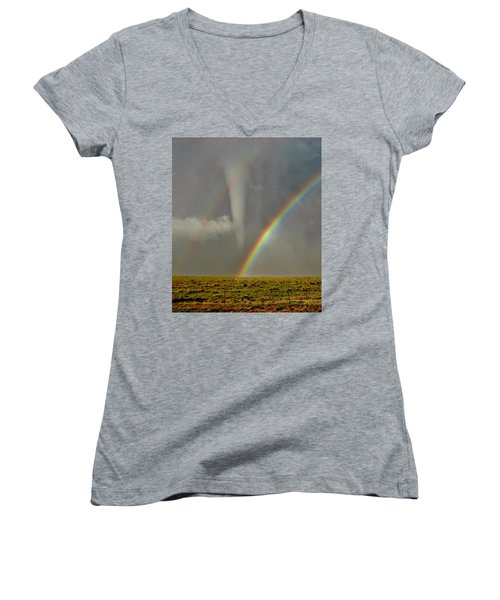 Tornado And The Rainbow II  Women's V-Neck T-Shirt (Junior Cut) by Ed Sweeney