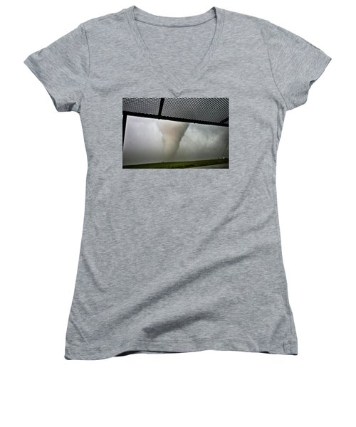 Women's V-Neck T-Shirt (Junior Cut) featuring the photograph Tornado Near Yorkton Sk. by Ryan Crouse