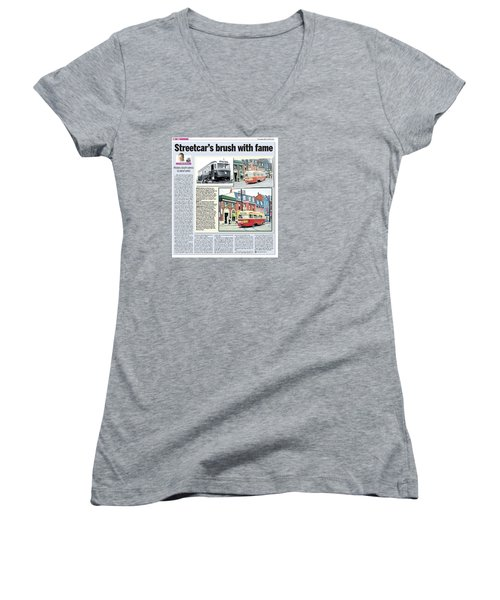 Women's V-Neck T-Shirt (Junior Cut) featuring the painting Toronto Sun Article Streetcars Brush With Fame by Kenneth M Kirsch