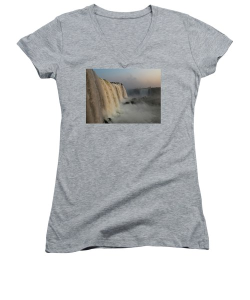 Women's V-Neck featuring the photograph Torrent by Alex Lapidus