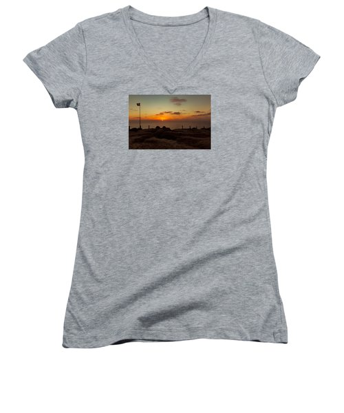 Women's V-Neck T-Shirt (Junior Cut) featuring the photograph Torrey Pine Glider Port Sunset by Jeremy McKay