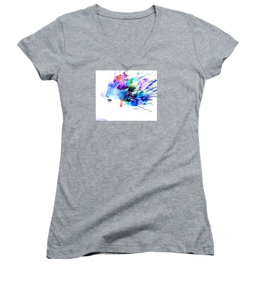 Women's V-Neck T-Shirt (Junior Cut) featuring the painting Tortured Ways by Denise Tomasura