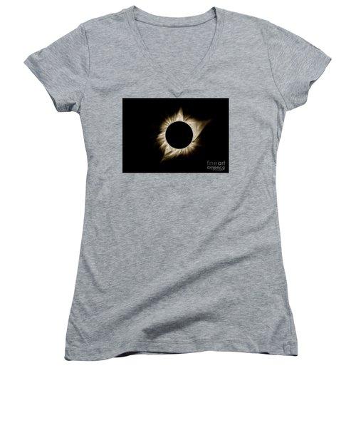 Total Solar Eclipse Corona Women's V-Neck T-Shirt