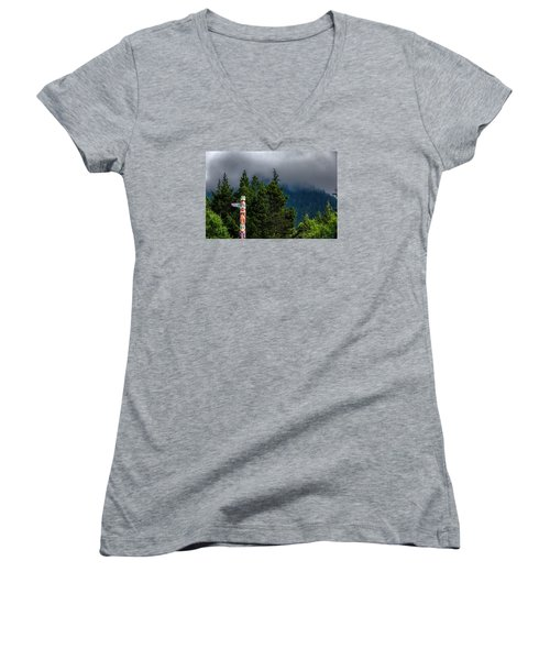 Totem Pole Women's V-Neck T-Shirt (Junior Cut) by Lewis Mann