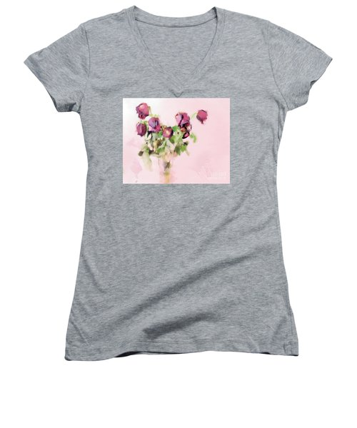 Women's V-Neck T-Shirt (Junior Cut) featuring the mixed media Touchable by Betty LaRue
