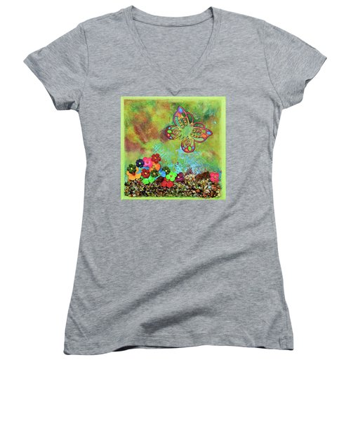 Touched By Enchantment Women's V-Neck T-Shirt (Junior Cut) by Donna Blackhall
