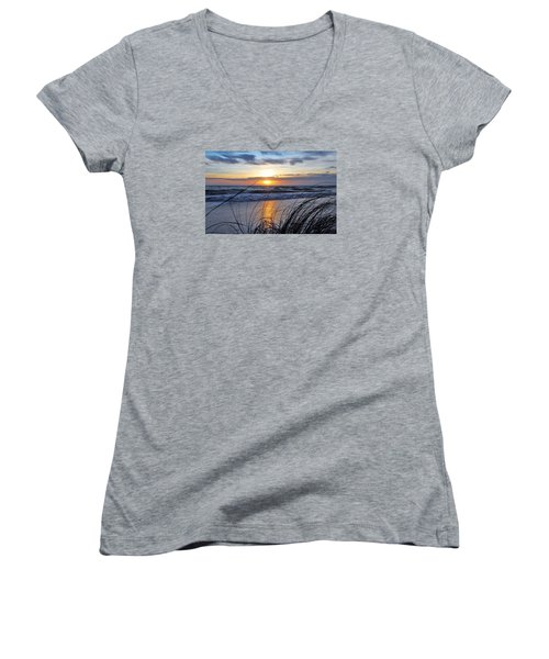 Touching The Sunset Women's V-Neck T-Shirt (Junior Cut) by Kicking Bear Productions