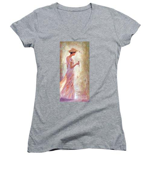 Toujours De Fleurs Women's V-Neck T-Shirt (Junior Cut) by Michael Rock