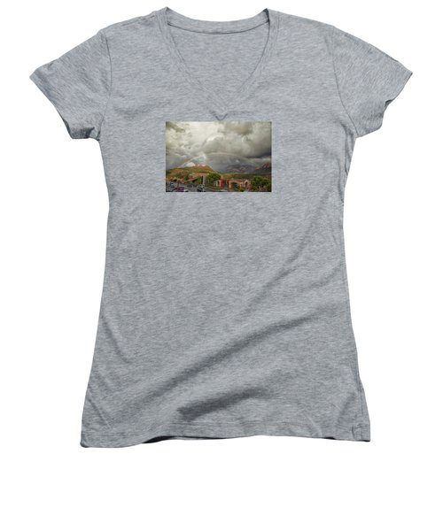 Tour And Explore Women's V-Neck T-Shirt (Junior Cut) by Tom Kelly