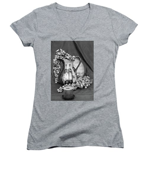 Women's V-Neck T-Shirt (Junior Cut) featuring the photograph Tour Of Italy In Black And White by Sherry Hallemeier