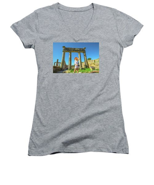 Tourist Traveler Photographer Women's V-Neck
