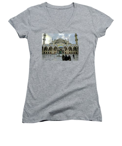 Tourists And The Blue Mosque Women's V-Neck T-Shirt