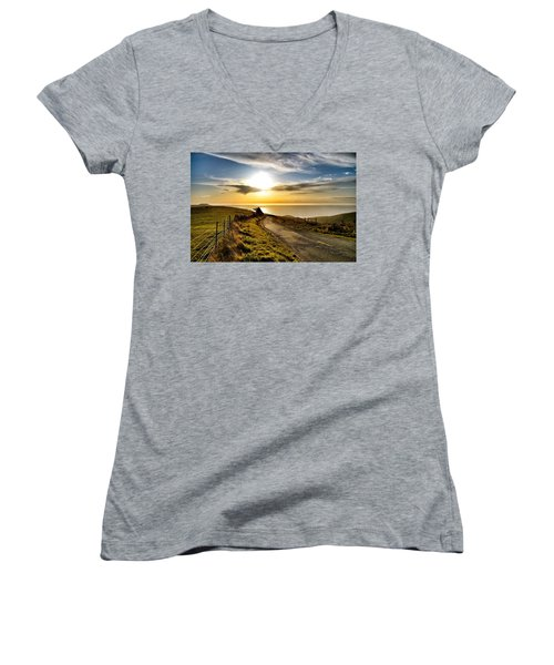 Towards The Sunset Women's V-Neck (Athletic Fit)