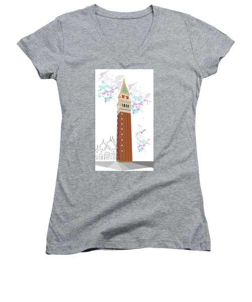 Tower Of Campanile In Venice Women's V-Neck