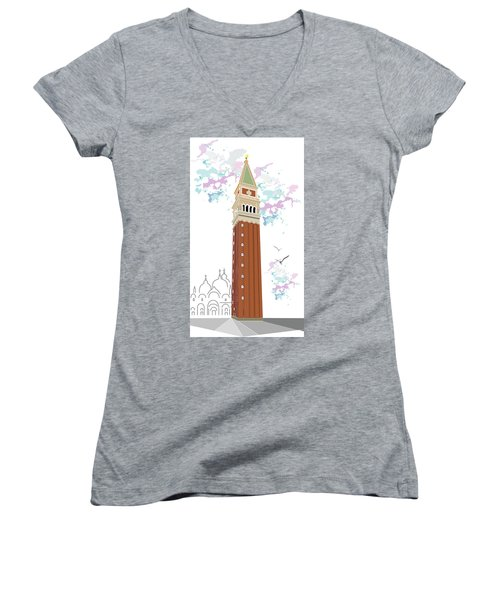 Tower Of Campanile In Venice Women's V-Neck (Athletic Fit)
