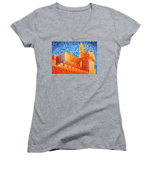 Women's V-Neck featuring the painting Tower Of David At Night Jerusalem Original Palette Knife Painting by Georgeta Blanaru