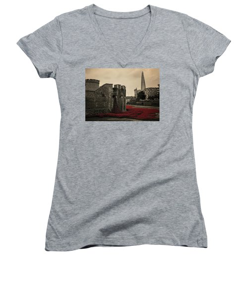 Tower Of London Women's V-Neck T-Shirt (Junior Cut) by Martin Newman
