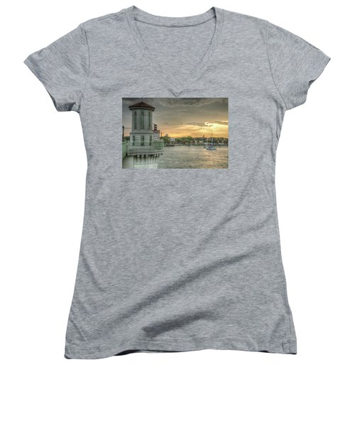 Tower Sunset Women's V-Neck (Athletic Fit)