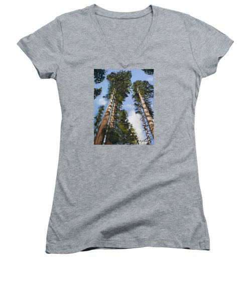 Towering Sequoias Women's V-Neck T-Shirt
