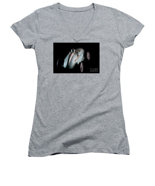 Women's V-Neck T-Shirt (Junior Cut) featuring the photograph Toy Race Car by Wilma Birdwell