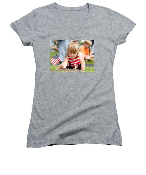 Tracing Letters Women's V-Neck T-Shirt