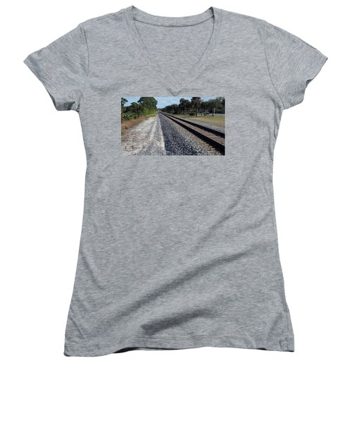 Tracks Hobe Sound, Fl Women's V-Neck T-Shirt (Junior Cut) by John Wartman