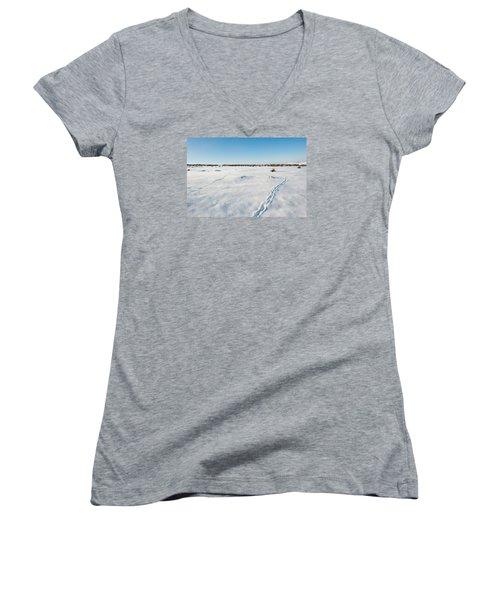 Tracks In The Snow Women's V-Neck T-Shirt