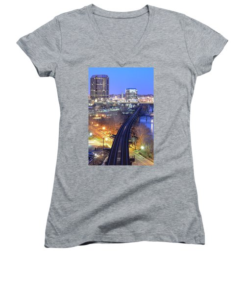 Tracks Into The City Color Women's V-Neck (Athletic Fit)