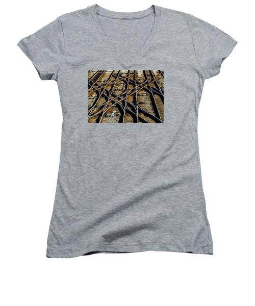 Tracks Of Abandon Women's V-Neck T-Shirt (Junior Cut) by Michael Nowotny