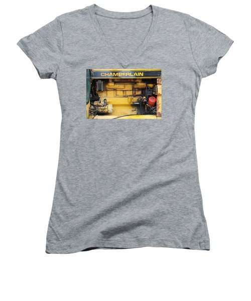 Women's V-Neck T-Shirt (Junior Cut) featuring the photograph Tractor Engine Iv by Stephen Mitchell