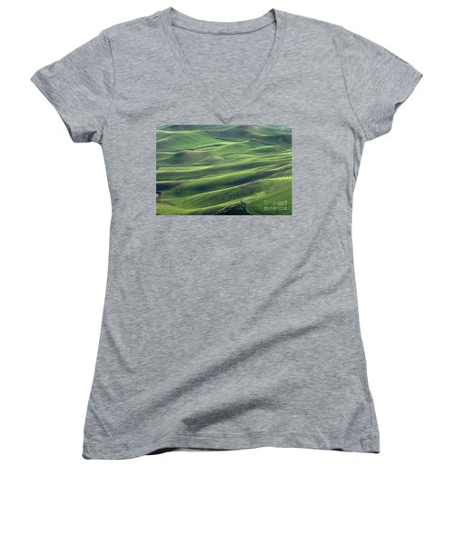 Tractor Tracks Agriculture Art By Kaylyn Franks Women's V-Neck (Athletic Fit)