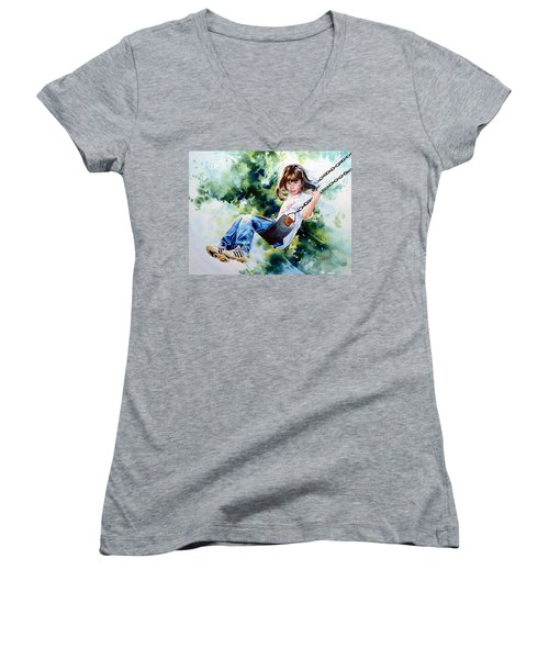 Women's V-Neck T-Shirt featuring the painting Tracy by Hanne Lore Koehler